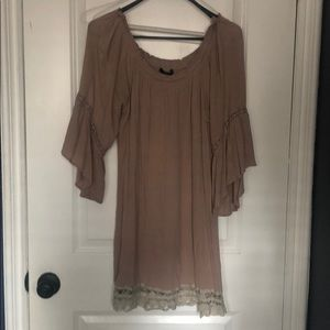 Off shoulder taupe dress
